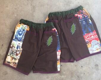 mens patchwork retro CUSTOM Dude Shorts olive mario TMNT pokemon hippie patchwork six pocket 30 32 34 36 38 40 42 44