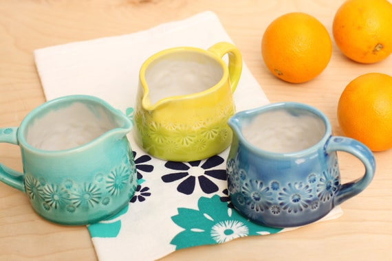 small pitcher, porcelain your choice of 3 colors