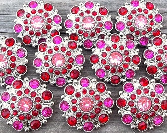 VaLeNTiNe BuTToNS- Set of 10 BRiGHT PiNK CeNTER w ReD and SHoCKiNG PiNK Rhinestone Buttons Flower Centers Headband Supplies 27mm