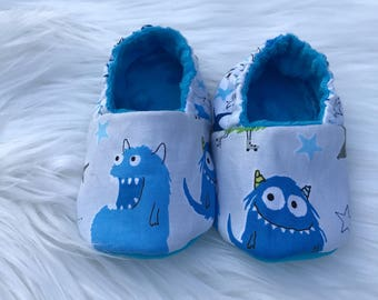 Blue Monster Infant Baby Shoes Booties Stars Monsters
