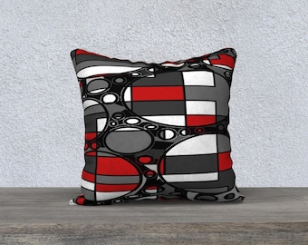 Handmade throw pillow, geometric patterned cushion cover in black, white, gray and res by Felicianation Ink