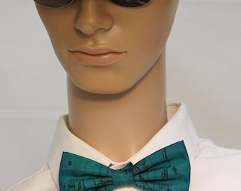 teal bowtie out of painted silk handprinted black lines