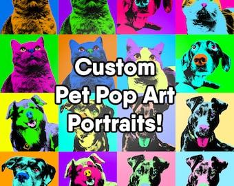 Custom Personalized Pet Pop Art Portrait Up to 2 Images