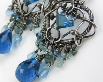 By the Bayou Earrings - London Blue Topaz, Moss Aquamarine and Sky Blue Topaz