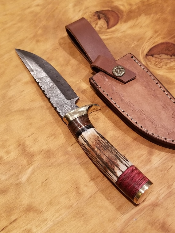 Handmade Deer Antler Handle Hunting Knife Damascus Blade Stag Horn Collection With Leather Sheath Premium Outdoors (K81)