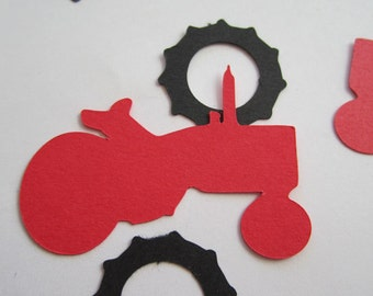 Farm Tractor Confetti Die Cut Black Red Farming Party Decor Scrapbook Card Making Color Options, Green, Pink, etc