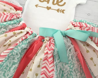 Coral/Pink, Mint/Teal/Turquoise and Gold, Arrow Skirt, Arrow Bodysuit, First Birthday Outfit/Fabric Tutu/Baby Girl/Shirt with Age