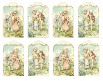 Printable Gift Tags Children Boy Girl Old Fashioned 18th Century Dress Costume Victorian Digital download