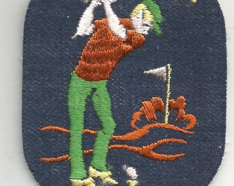 Golfspieler spielen Golf Swing Ball Club Sport Club Retro Patch Crafts