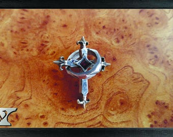 Pendant cross, sterling silver, handmade