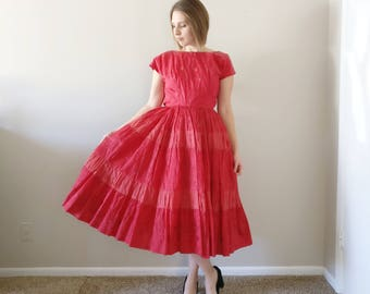 Vintage 1950s Red Rose Party Dress/50s Dress/X-Small
