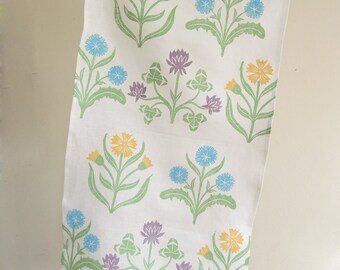 white linen hand block printed tea towel Cottage Garden kitchen botanical home decor floral pastels