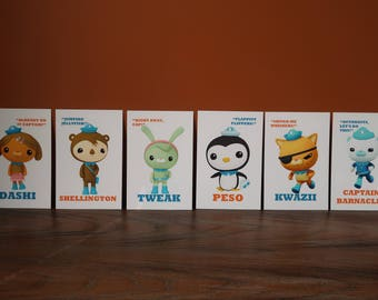 Octonauts Character Cards / Table Cards / Party Decorations (Barnacles, Kwazii, Peso, Tweak, Shellington, Dashi, Prof Inkling, Tunip)