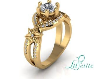 Flowers art nouveau vintage inspired Engagement ring, Round Moissanite engagement ring,  14k yellow gold Halo ring, diamond alternative ring
