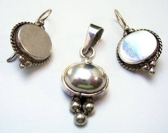 Sterling Pendant Earring Set Signed 925 Silver Wire Hooks Southwest Vintage