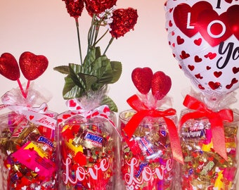 FREE CANDY! Valentine's Day Vases - Hearts on Vase and Filled with Candy