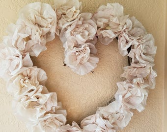 """Romantic Heart shaped Coffee Filter Wreath, Softest Taupe, Dyed and Created by Hand, 12"""""""