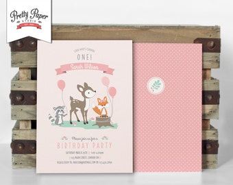 Girl Woodland Birthday Party Invitation // Woodland Party Invite // Girl // Mint & Pink // Deer Fox Raccoon // Printable Digital BP02