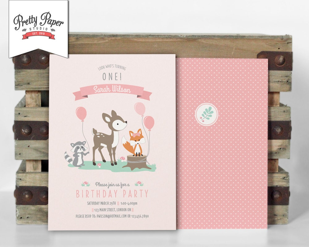Girl Woodland Birthday Party Invitation Woodland Party