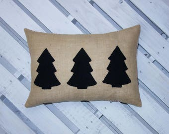 Christmas Decor - Tree - Burlap pillow cover - Farmhouse - Black - Red and White - Ticking Stripe - Lumbar Pillow - Organic cotton