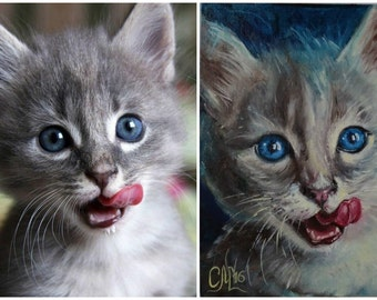 Custom Cat portrait custom Pet portrait painting custom Pet memorial Kitten painting custom fine art oil painting portrait cat|lover|gift