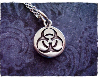 Silver Biohazard Necklace - Sterling Silver Biohazard Charm on a Delicate Sterling Silver Cable Chain or Charm Only