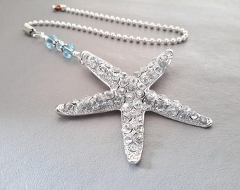 Crystal Starfish Light Pull Metal Bling Starfish Fan Pull Ocean Lovers Room Decor Silver Tone Ball Chain and Connector Pretty Fan Light Pull