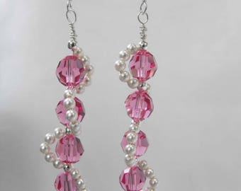 Earrings, Pink Swarovski Faceted Crystals, Swarovski Crystal Pearls, Sterling Silver Ear Wires, Hand-Made NT-1324