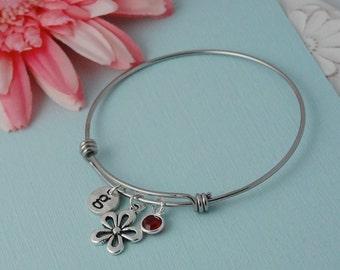 Bangle Bracelet, silver charm bracelet, initial bracelet, personalized, birthstone