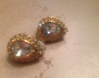 Vintage Swarovski Earrings Crystal Gold Signed Costume Jewelry