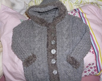 JACKET / VEST A HOODIE torsadeenlaine grey knit hands 18 months