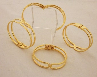 Gold Plated Bracelet Cuffs for Jewelry Making With Spring Closure 4 Pk