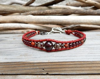Anklet Jewelry. Summer Jewelry. Foot Jewelry. Ankle Bracelet. Stone Anklet. Leather Wrap Anklet. Red Garnet Anklet. Boho Gypsy Anklet