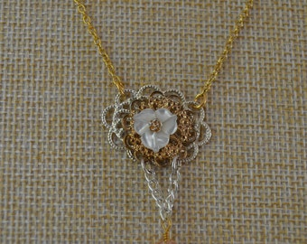 Flower of Filigree with Pink Crystal Charm Necklace