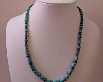 ON SALE Vintage Turquoise and Silver Bead Necklace