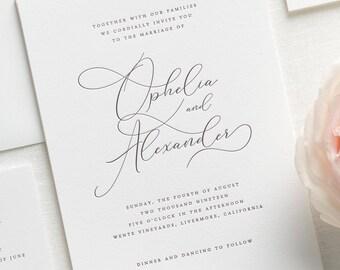 Ophelia Letterpress Wedding Invitations - Sample