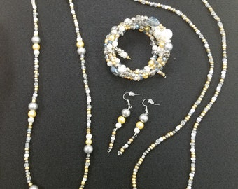 Beaded 2 necklace, earrings, and bracelet set
