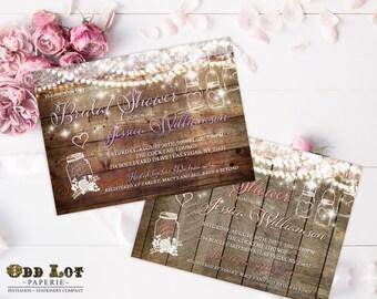 Mason Jar Bridal Shower Invitation, Rustic Bridal Shower Invite, Floral Bridal Shower, DIY Printable Mason Jar Bridal Shower Invitation