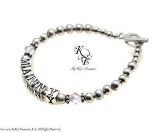 Personalized Mothers Bracelet Grandmother Bracelet Mothers Name Bracelet Grandma Gift Mothers Jewelry Sterling Silver Mothers Bracelet