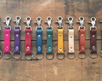 Leather Key Fob Leather Keychain Keyring Custom Keychain Personalized Leather Handmade Hand Cut & Dyed