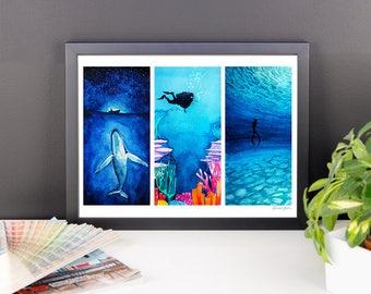 Ocean Printable Watercolor / Whale Diving Coral Reef Art / Marine Painting Printable Art / Sea Digital Download