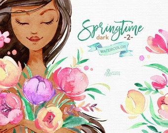 Springtime. Dark skin 2. Watercolor floral clipart, girls, tulips, bouquets, frame, vase, scooter, handcart, spring, template, wedding, sun
