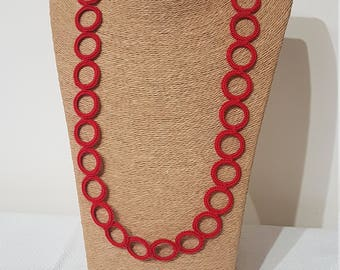 Red Crochet Ring Necklace