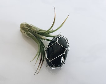 Wire Wrapped Black Onyx Crystal Pendant