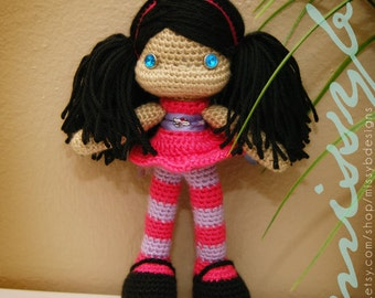 Cute Crochet Doll Pattern - Hannah Doll PDF Pattern - Stuffed Doll Toy - amigurumi - Instant Download