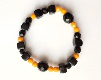 Tiger Bracelet, Stretch Bracelet, Orange Black Bracelet, Czech Glass Bracelet