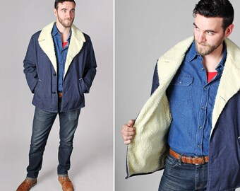 Vintage Men's 1970's Denim Sherpa Lined Jacket - Blue Woven Coat Country Retro 70's Outdoor Southern Casual Western - Size L or XL