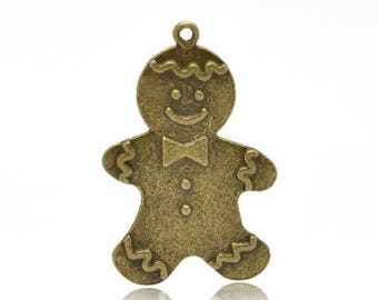 Christmas gingerbread man pendant bronze (T27)