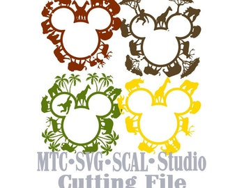 SVG Cut Files Safari Zoo Animal Mouse Head Designs 01 MTC SCAL Cricut Silhouette Cutting Files