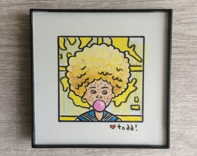 """Isle of Dogs - Tracy, Original Drawing, 4"""" x 4"""", TV, Wes Anderson, Movies, Pop Culture, ink and crayon"""